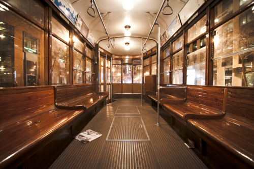 Inside of a streetcar on the historic F Line
