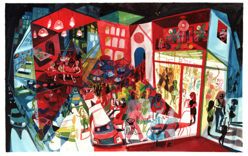 Brecht Evens - Illustration from De Liefhebbers (2011) (site)