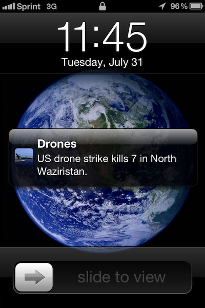 "hipsterlibertarian:  Apple keeps rejecting an app which maps US drone strikes based on news reports and sends ""users a pop-up notice whenever a flying robots kills someone in one of America's many undeclared wars."" Apple says the app is ""not useful."" Right, and all the apps it does allow, like Angry Birds, are sooooooo useful. The iPhone makers have objected on the grounds that the content is ""objectionable and crude"" as well, which makes no sense, because it's just plotting news reports on a map. Also this is the platform which hosts the Pimple Popper app."