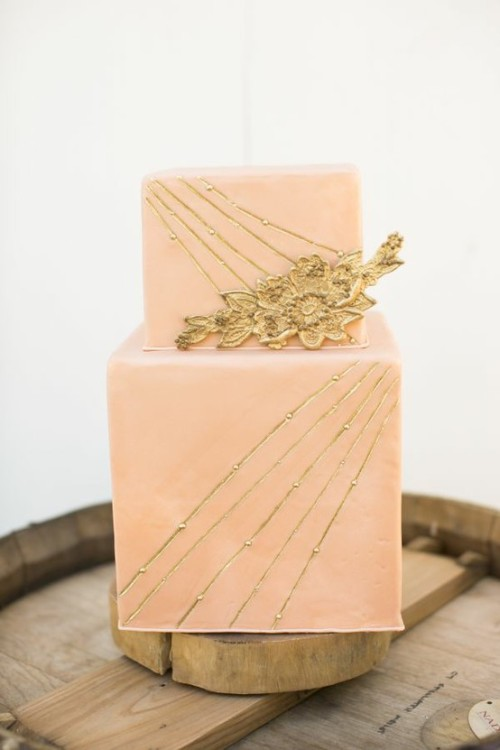 pink and gold geometric art deco wedding cake