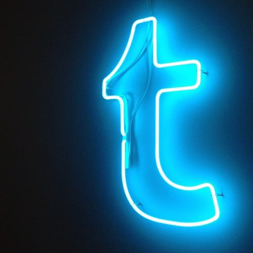 "jessbennett:  A neon Tumblr ""T"" now on the office wall, thanks to the guys at Brooklyn Glass. (Taken with Instagram at Tumblr HQ)"