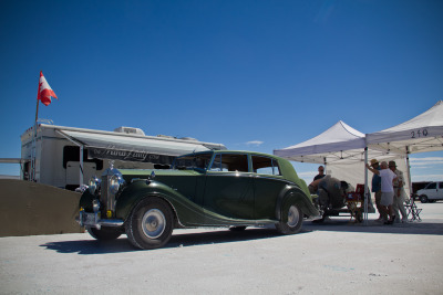 One of my favorite sights at the BUB speed trials at Bonneville- the Rolls Royce towing a salt racer.
