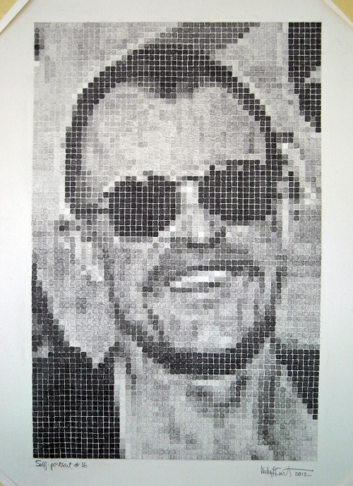 "Michael Kurt: Self-portrait #16, 2012, pencil on paper, 17 1/4"" x 25"""