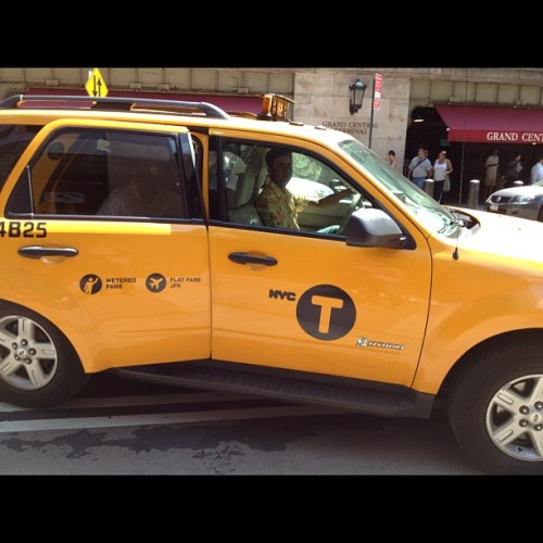 T is for Taxi! The new simplified yellow cab logo, sans the word taxi, is showing up on #nyc cabs.  (Taken with Instagram)