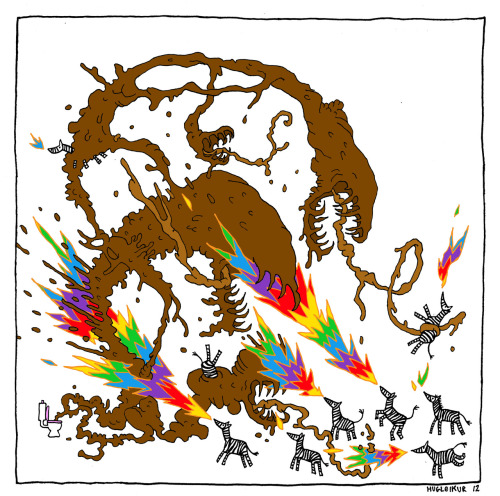 hugleikurdagsson:  poop monster versus fire breathing zebras. with rainbow fire. I promised lord facebook I would draw this when I got to 17000 likes. so here it is.