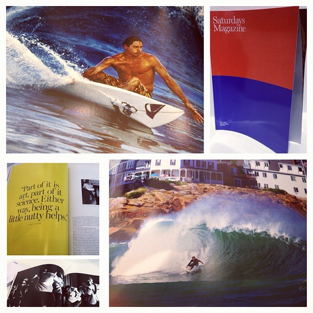 SATURDAYS MAGAZINE Issue #001 Summer 2012. Surfing is the thread the SATURDAYS' Team shares in their city of ideas and culture with friends , family, new people . Inside Mike D, Quincy Davis , Yokoyama and more.  #colette #colettestore #saturdays #magazine (Pris avec Instagram)