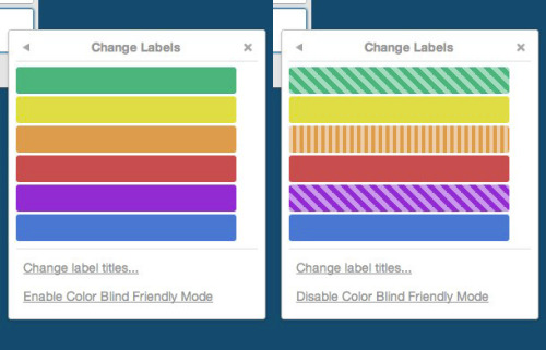 Trello - Color Blind Friendly Mode makes labels distinguishable by pattern. /via Silvano Stralla