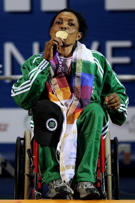 Ivory Nwokorie celebrating her gold medal success at the London 2012 Paralympics! Nigeria's second gold medal of the games and the first Nigerian female athlete to reach the pinnacle at this year's games. So much respect.