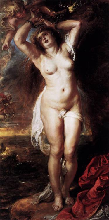 oldroze:  Pieter Paul Rubens (1577 - 1640)  Andromeda  1638    Staatliche Museen, Berlin, Germany Painting, Oil on oak, 189 x 94 cm   Andromeda, the daughter of  the king of Ethiopia, Cepheus, and Cassiopea, who claimed that her daughter was more beautiful than all the Nereids. In jealousy Nereids asked Poseidon to send a monster to waste Cepheus's kingdom. An oracle foretold that the country would be spared if Andromeda, whose beauty was guilty in their mischief, were given to the monster. The people of Ethiopia forced Cepheus to sacrifice his daughter: she was chained to the rock and waited for the monster to be devoured. There Perseus saw her. Perseus was coming back from his expedition against the Gorgons, with the head of Medusa in his bag. With the help of that head he turned the monster into stone and freed Andromeda. Then he married her and took with him to Argos.