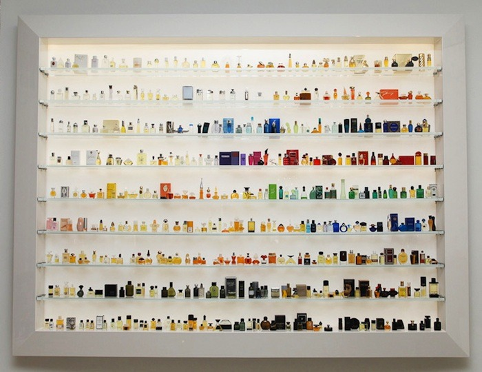 "vogue:  The Osswald boutique's back wall contains a vintage perfume bottle collection, on loan from longtime Zurich store manager and fragrance enthusiast Werner Abt. Read ""Cult Beauty Alert: Zurich's Osswald Boutique Arrives in SoHo"" Photo: Gunnar Larson"