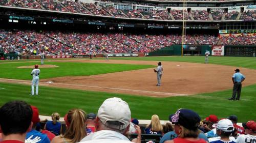 "Darren Fauth had these ""Great Seats"" and a five star view at Rangers Ballpark. They sat just past 1st base and a few rows up from the field, when the Rangers took on the Tigers. (via Rangers Ballpark section 36 row 8 seat 4 - Texas Rangers vs Detroit Tigers shared by Darren Fauth)"