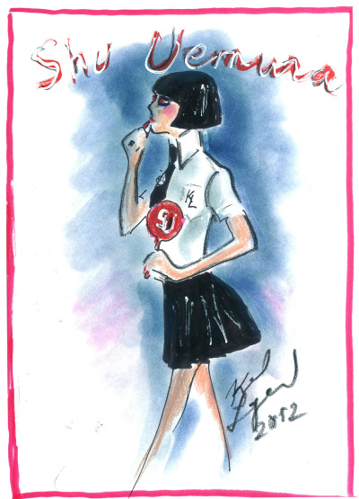 Karl Lagerfeld sketch for shu uemura collaboration, 2012.