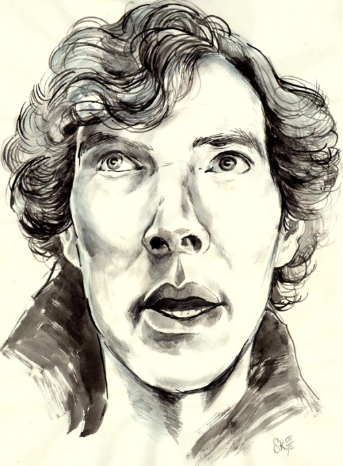 A pretty quick A3 sized ink drawing of Sherlock. I should be studying physics for finals…