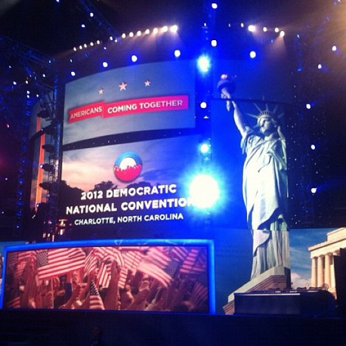 The stage is unveiled at Time Warner Cable Arena in Charlotte for the Democratic National Convention. #NBCPolitics #DNC2012 (Taken with Instagram)