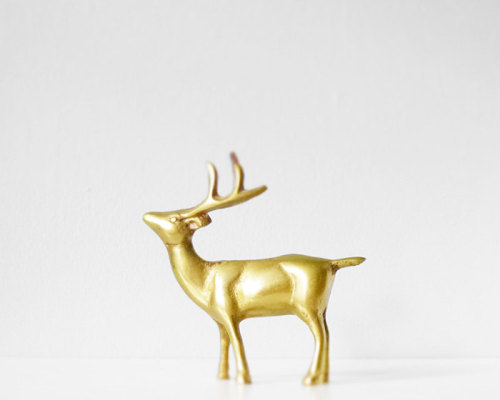 Vintage brass deer buck or reindeer
