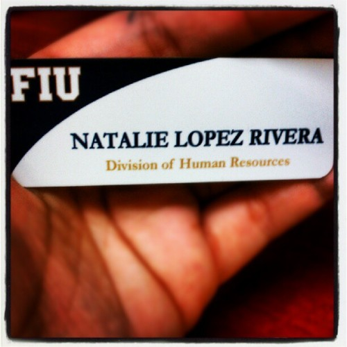 I finally got my nametag :') I feel so legitimate :D #FIU @FIU #HumanResources #HR #StudentAssistant #Work #Ilovemyjob #random  (Taken with Instagram at Charles E. Perry Building/Primera Casa (PC))
