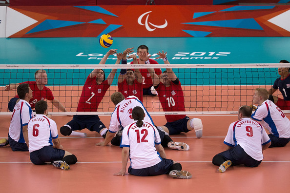 Action between Russia and Great Britain during their Pool A Sitting Volleyball match. Getty