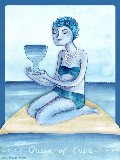quickdrawcollective:   My card was the Queen of Cups! Emotional security, calm, intuitive, compassionate. See ya next month! :)-Julia    Here's my piece for this month's challenge!  I love the 4 tarot queenz <3