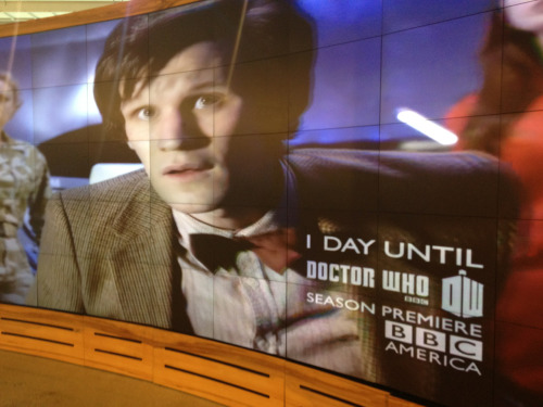 Watching the Doctor Who marathon on BBC America, at BBC America. (One day to go!!!)