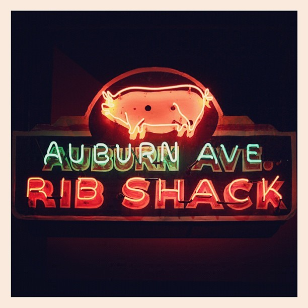 1950s Auburn Avenue Rib Shack neon sign on display at the AHC