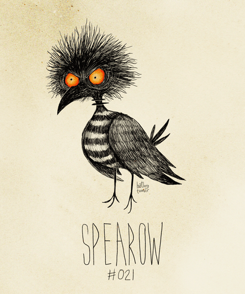 hatboy:  Spearow #021 (Tim Burton Inspired Pokemon Re-Design) Spearow used LEER!