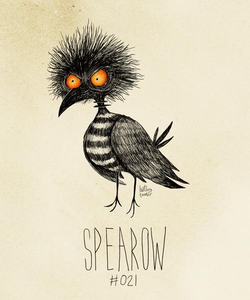 Spearow #021 (Tim Burton Inspired Pokemon Re-Design) Spearow used LEER!