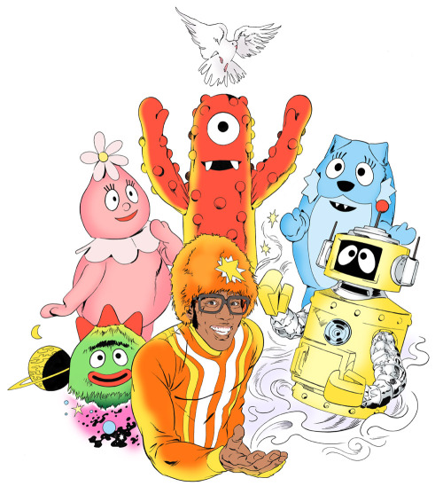 """shedreamsofforests:  peltthetreewithlaughter:  (via Brandon Bird: """"Group Shots Are Awesome!"""")  I love Yo Gabba Gabba.  one of the few kids shows I can stand. At least this one teaches!"""