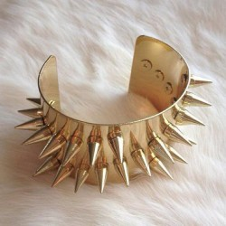 Gold Spiked Cuff - also available in Gunmetal and Silver color. Only few left! 😱 Shop at MickeysGirl.com! (Taken with Instagram)