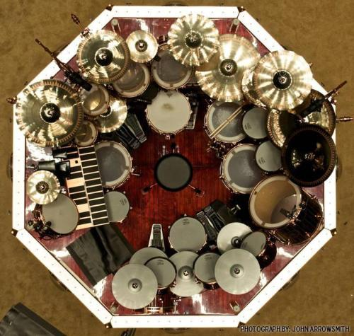 Aerial Pic of Neil Peart's kit This should offend musicians across the universe.