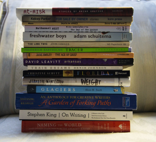The majority of the books I have to read for this semester.Not pictured:Bartleby the Scrivener - Herman MelvilleCountry of the Pointed Firs - Sarah Orne JewettThe Amazing Adventures of Kavalier & Clay - Michael Chabon