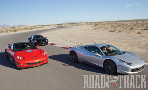 The 2012 Chevrolet Corvette ZR1, 2012 Ferrari 458 Italia, and 2012 McLaren MP4-12C. They're all impossibly fast and incredibly capable; driven alone and without context, each is a world-beater. But drive them back to back, and both strengths and weaknesses tend to pop out in bold relief. (Source: Road & Track)