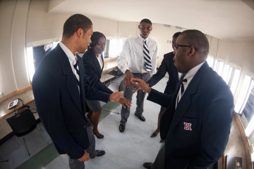 "Howard University's Forensics Team preparing to debate Morehouse College Friday, Aug. 31 in Cramton Auditorium during the ""More than a Game"" celebration of the AT&T Nation's Football Classic. The teams debated voter id laws and affirmative action. #Go Bison!"