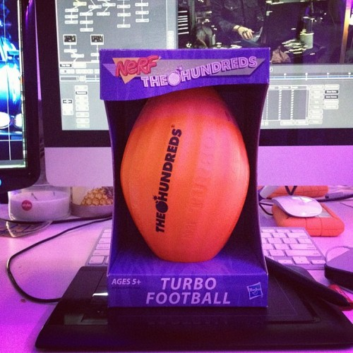 Super thanks to @TheHundreds for sending this Turbo Football and renewing my childhood!!! #THEHUNDREDSxNERF (Taken with Instagram at Cashmere Agency)