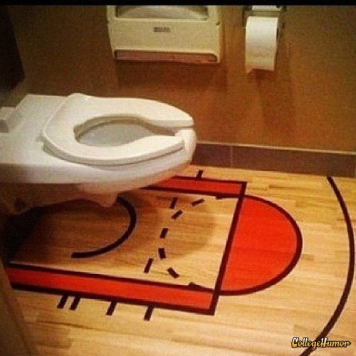 Basketball Court Bathroom How to get a bunch of showoffs to pee all over your bathroom.