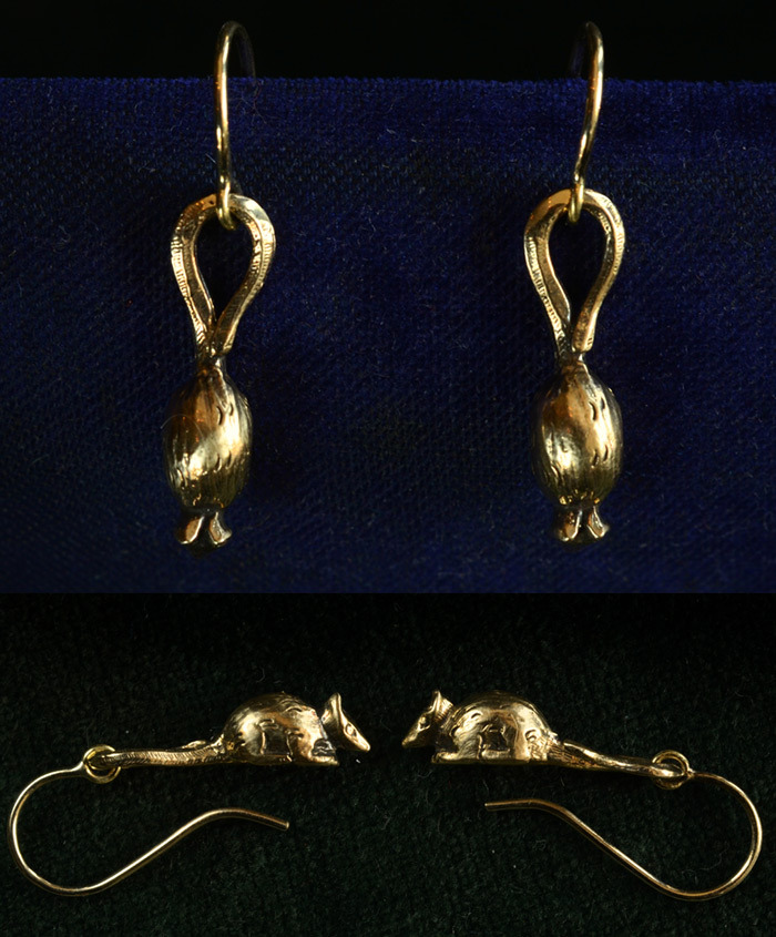 French Mice Earrings, 14K Gold, $625/pair I can usually resist the temptation to cast old jewelry, but these were too good to pass up. I found the original pair from an English dealer earlier this year.  The originals have French marks and date to the late 19th century, and were handmade in silver (the originals are for sale as well).  They cast nicely in gold.  The beauty of their design is that from face-on they look very elegant and vaguely botanical— like a closed flower or a seed pod.  But when you see them in profile they're very clearly little mice hanging from their tales.