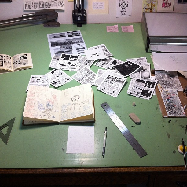 Pushing through the last pages of Diary Comics 4—my table has turned into a tornado of moments (Taken with Instagram)