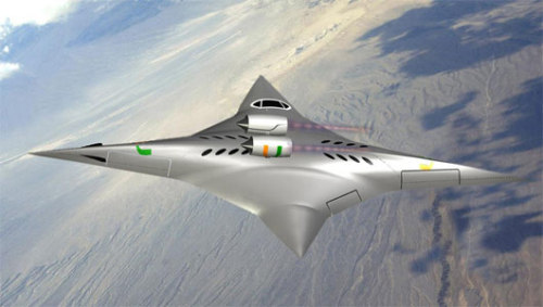 Supersonic flying wing aircraft inspired by 4-point ninja starJet engines on the plane will always point in the forward in flight, and could reach supersonic speeds without the super loud sonic boom.