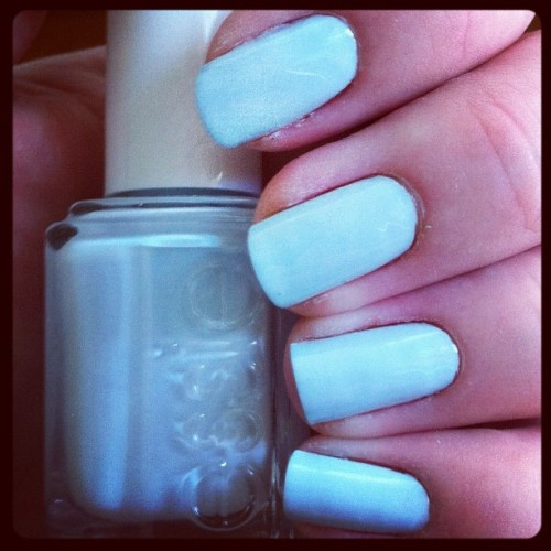 "I love this color! ""Borrowed & Blue"" from Essie. It's the perfect shade of light blue and it's matte which I love! #nailpolish #essie  (Taken with Instagram)"