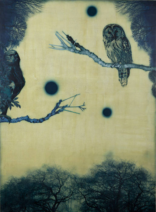 artemisdreaming:  Dark Night and Three Moons, 2011,  Acrylic and collage on canvas Kaoru Mansour  HERE