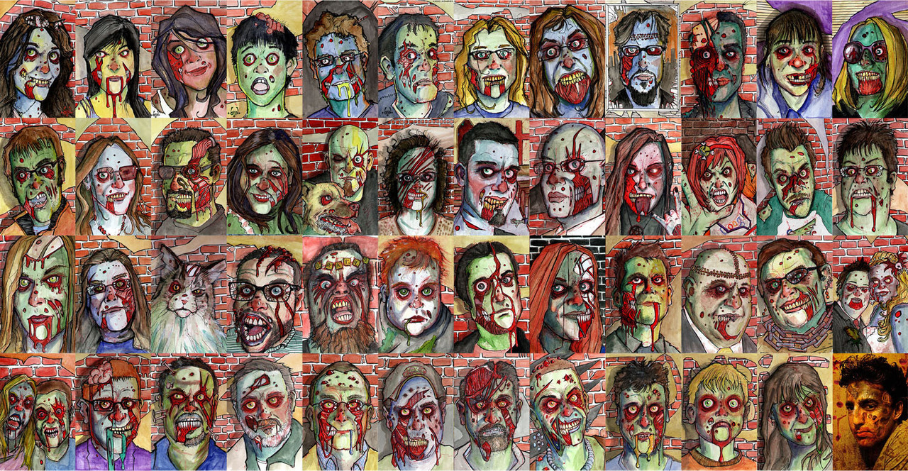 "nparts:  Ever wonder what you might look like as a zombie? Canadian artist Byron Rempel will be happy to zombify you From his home in the town of Morden, Man., located roughly a half-hour drive from the U.S.-Canada border, Byron Rempel is slowly amassing an army of the undead. Luckily for local residents, Rempel's growing stable of zombies aren't of the flesh-eating variety, but rather works of art; drawings and paintings created by Rempel, each one designed to depict a real person as they might look as a member of the living dead. It's all part of the artist's ambitious 1,000 Zombies project, which, as the name suggests, is something of a personal quest for Rempel, who plans to create a horde of ""zombified"" portraits of the people he meets through the Google+ before the end of the year."