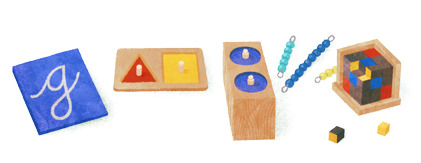 Google Doodle celebrating the 142nd anniversary of Maria Montessori's birth, August 31, 2012. Maria Montessori was an Italian physician best known for her philosophy of education.  She began her career working with developmentally disabled children.  In 1900, Maria was appointed co-director of a new institute for training teachers of developmentally disabled children.  She went on to study psychology and anthropology, becoming a lecturer at the University of Rome.   Interested in applying her pedagogical methods to a wider range of students, Maria founded a school for young working class Roman children in 1906.  The school, called Casa dei Bambini, implemented a number of ideas that would become hallmarks of Montessori education, such as child sized furniture and a range of hands on activities. Within just a few years, Montessori education spread.  Four more Casa dei Bambini schools  were opened in Italy in the next two years.  In less than 10 years, Montessori schools were open in Switzerland, France, Sweden, Spain, the UK, the US, and Canada.  Today there are an estimated 20,000 Montessori schools worldwide.  Google founders Larry Page and Sergey Brin are among the graduates of Montessori schools.