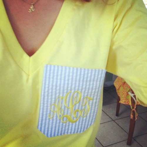 virginiaisforlovers-ofprep:  My new shirt! #marleylilly #seersucker #monogram (Taken with Instagram)