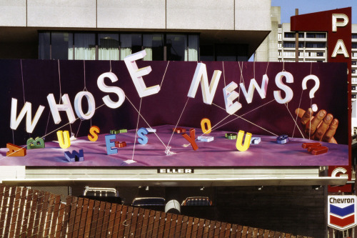 Whose News, Billboard, Oil Painting Produced by Eller Outdoor Advertising, 14' x 48', San Francisco, California, 1980 A new book looks back at decades of collaborative work by artists Larry Sultan and Mike Mandel.  See more photos here.