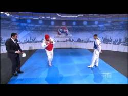 The Footy Show - Disrespecting Taekwondo Backfires Safwan Khalil and Carmen Marton visit the Footy Show and show Sam Newman a thing or two about Taekwondo after he made a few disparaging remarks about it.