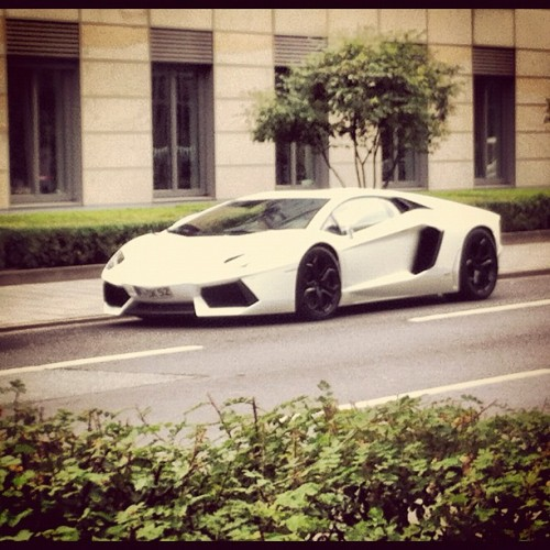Lamborghini Aventador. Fan girl moment. I just had to take a pic. It was so beautiful. Production limited to 4000 units. #lamborghini #car #sexy #beautiful #aventador #sportscar #luxury #image #white #badass #dream #awesome #frankfurt #germany #igers #instagramers #instamood #igersgermany #europe #lamborghiniaventador (Taken with Instagram at Guesthouse)