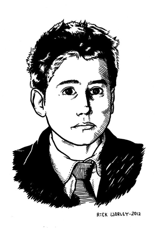 "So, this is a drawing I did of the young Jean Pierre Leaud from Truffaut's 400 Blows.  The chapter title Children of Marx and Lady Gaga is a reference to the Godard film Masculin Feminin, which Leaud was also in.  There are a lot of things going on in the comics I've been doing and the comics that are coming up that tie in to 60's French New Wave films, and 60's culture in general. As the comics coming up talk more about money and capitalism and the relationship between those things and art, it's hard to not think about Occupy, and the obvious parallels between the dissatisfaction people have now and the protests going on, and things that were going on in the 60's, and things like the student protests in France.  There's more 60's stuff in my comics going back a while now, with the references to Bob Dylan and R. Crumb, who became associated with that era even though he didn't like it.  I think using some iconic things from 50 years ago to talk about what's happening now appeals to me because it shows the circularity of these things, how they come around again, like the fly life cycle drawings in Morbid Obsession were meant to. The best we can do is try to break out of the cycle if it's destructive, and move forward.  Hopefully every generation is moving forward a little bit.  The world that young people in the 60's were hoping for didn't quite come to pass, but the world definitely became better than it was before then.  As the zeitgeist tries to have a forward momentum again, there's always the reaction from the other side to pull us backwards, which is what the Republican party represents today. I try not to talk about these things in magical terms, but I find it kind of fascinating the way these ideas float around in the collective unconscious.  That's part of why I like to specifically call out in my work some of the influences that I'm thinking about at the time.  In Masculin Feminin, you see French young people in the 60's talking about Bob Dylan, fascinated with the ideas that are going around across the ocean.  In turn, Bob Dylan is fascinated with the French poet Rimbaud, and kind of completing that circle is this picture of Leaud which has him in a pose and outfit looking very much like that famous portrait of Rimbaud that I drew in one of my comics a while back. A couple weeks ago I was walking to a comics store in the Mission District of San Francisco, and I noticed some trailers parked along the street.  A little further along the street, I come across Woody Allen filming scenes for his new movie, and I stopped to watch him for a while.  I wondered what he would think knowing that a comics shop down the street was selling my book, in which I drew my rabbit making the joke Woody Allen made at the beginning of Annie Hall.  That joke, of course, was a Groucho Marx joke, which Woody mentions in the movie.  He's talking about the wisdom you can find in jokes, and by deliberately mentioning a hero of his, he's placing his work in the lineage of ideas that fascinate him.  Part of the reason I liked Marx and Lady Gaga as a title was that you could take ""Marx"" to be about Karl, or it could be about Groucho, who I had just mentioned in my book.  Some of the comics now are concerned with capitalism, but I didn't want to seem like I was abandoning the themes about love and relationships and so on that I've been interested in, so it amused me that using that name could refer to either. That's what's fascinating to be about art in general, you're sending these ideas out into the universe, and you're never quite sure exactly what ripples they'll create.  Some people read my comics to have meaning extremely close to what I was thinking about when I wrote them, but other people with their own life experiences bring something to the comics that leads them to come up with interpretations I never would have thought of, which I love.  I think that's amazing. Woody Allen directed his first movie, Take the Money and Run, in San Francisco in 1969, and now he's returned to film in San Francisco for the first time since then, and when I saw him it was actually a few blocks from a spot where he had filmed portions of his 1969 film.  When I was watching him, there was a lady standing next to us that I think had lived here that long, talking about how the neighborhood had changed since the last time Woody was filming it.  I somehow doubt it crossed his mind when he was starting his movie career in the 60's that decades later when he came back, across the street from where he was filming there would be a comic shop selling some comics that have sex involving twinks and cartoon rabbits in them, and also jokes made in homage to films from Woody Allen's career."