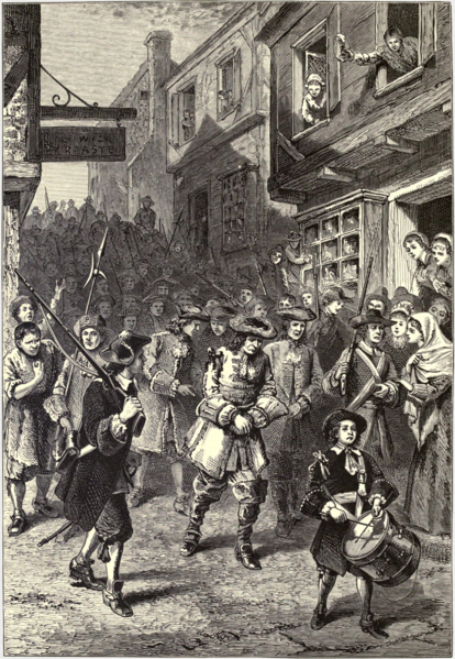 "A 19th-century interpretation showing the arrest of Governor Andros during Boston's brief revolt in 1689The 1689 Boston revolt was a popular uprising on April 18, 1689, against the rule of Sir Edmund Andros, the governor of the Dominion of New England. A well-organized ""mob"" of provincial militia and citizens formed in the city and arrested dominion officials. Members of the Church of England, believed by Puritans to sympathize with the administration of the dominion, were also taken into custody by the rebels. Neither faction sustained casualties during the revolt. Leaders of the former Massachusetts Bay Colony then reclaimed control of the government. In other colonies, members of governments displaced by the dominion were returned to power. Andros, commissioned governor of New England in 1686, had earned the enmity of the local populace by enforcing the restrictive Navigation Acts, denying the validity of existing land titles, restricting town meetings, and appointing unpopular regular officers to lead colonial militia, among other actions. Furthermore, he had infuriated Puritans in Boston by promoting the Church of England, which was disliked by many Nonconformist New England colonists."