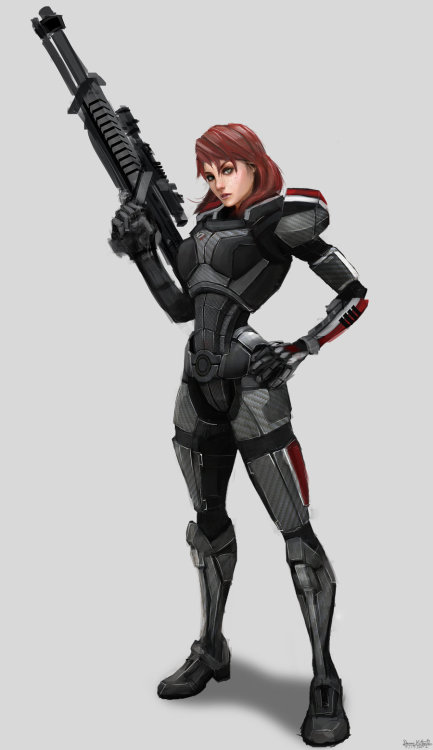 mistressmoitie:  Fem Shepard by ~Danai-K  I just started playing through Mass Effect, (I know, I know, I'm sorry, but, better late than never, right?) and I went with a feisty yet still mostly paragon Fem-Shep.