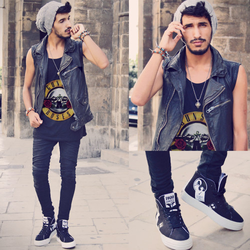 GUNS N' ROSES Outfit : Hat : Zara / Leather vest : Zara / Top : Guns N' Roses Vintage / Skinny : Lord Richard / Shoes : Forfex Pam Animal Stickers / Accessories : Fashops  LOOKBOOK : http://lookbook.nu/look/3905266-GUNS-N-ROSES