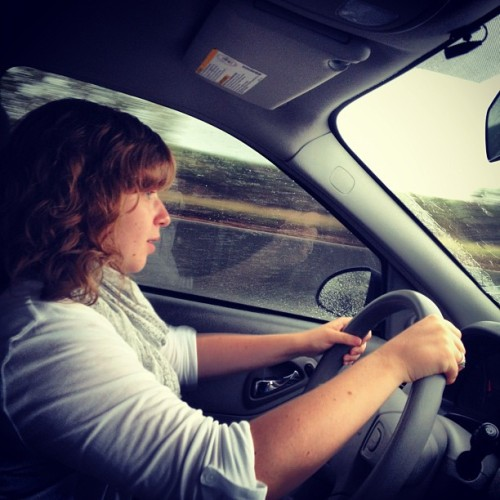 She's driving us through the rain and I'm scared for my life. (Taken with Instagram)